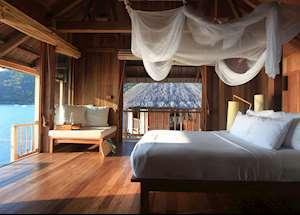 Water Villa bedroom, Six Senses Ninh Van Bay, Nha Trang