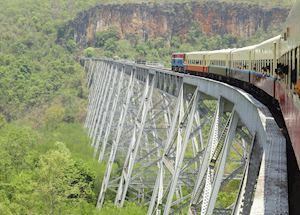 Train journey from Nuang Cho to Kyaukme over the Goteik Viaduct, Burma (Myanmar)