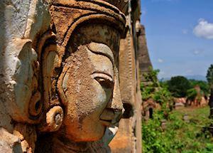 Sculpture at the Inn Dein Pagodas, Inle Lake, Burma (Myanmar)
