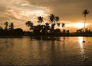 Sunset over the backwaters, Kerala, India