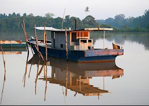 Fishing boat on the Kinabatangan River, Malaysian Borneo