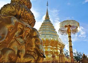The stupah of the Wat Phra That Doi Suthep, Chiang Mai, Thailand