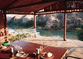 View of the river from the dining room at Kunene Camp, The Skeleton Coast