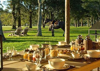 Breakfast outside at Estancia La Bamba