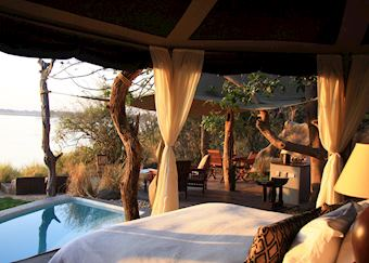 View from bed, Cassia Suite, Chongwe River Camp