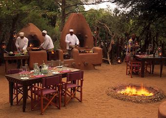 Dinner at the Grumeti River Camp