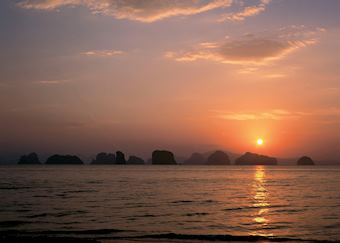 View from the beach at the Six Senses Hideaway at Yao Noi, Koh Yao