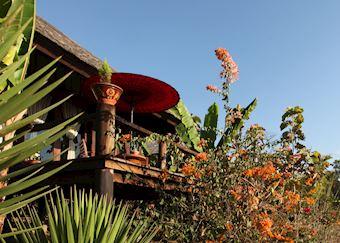 Spacious balcony at the Villa Inle Resort