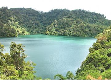 View across one of the Twin Lakes near Dumaguete, Negros, Philippines