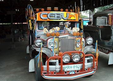 A jeepney, public transport used widely throughout the Philippines