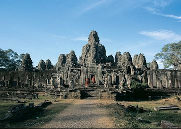 Buddhist Monks visiting The Bayon, Siem Reap