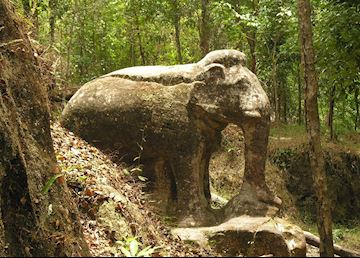 Ancient stone carvings in the jungle, Kulen Safari