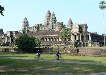Cyclists at Angkor Wat, Cambodia