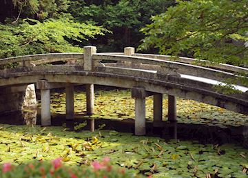 Temple pond & bridge, Kyoto