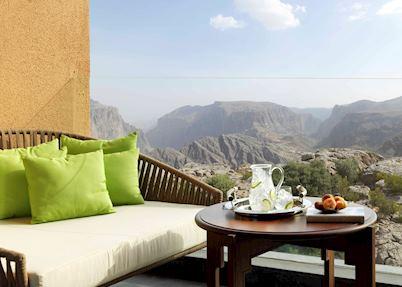 Premier canyon view room balcony, Anantara Al Jabal Al Akhdar Resort, Jebel Akhdar