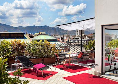Roof terrace, Hotel Plaza Opera, Palermo
