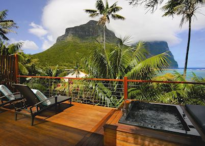 Lidgbird suite deck, Capella Lodge, Lord Howe Island