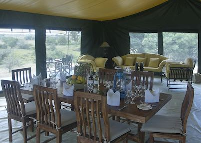 Dining tent at Porini Rhino Camp
