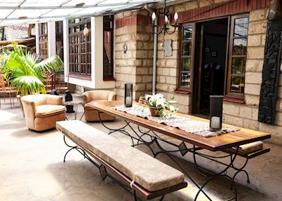 Outdoor sitting area at Macushla House