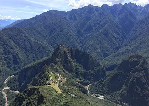 Machu Picchu ruins viewed from Machu Picchu Mountain