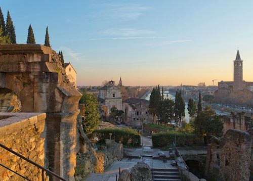 Roman theater and aerial view at sunset, Verona