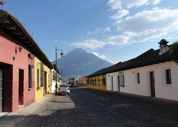 Typical street in Antigua, Agua volcano dominating the horizon