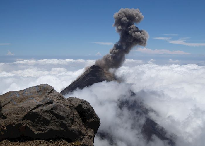 View of Fuego erupting from the summit of Acatenango Volcano