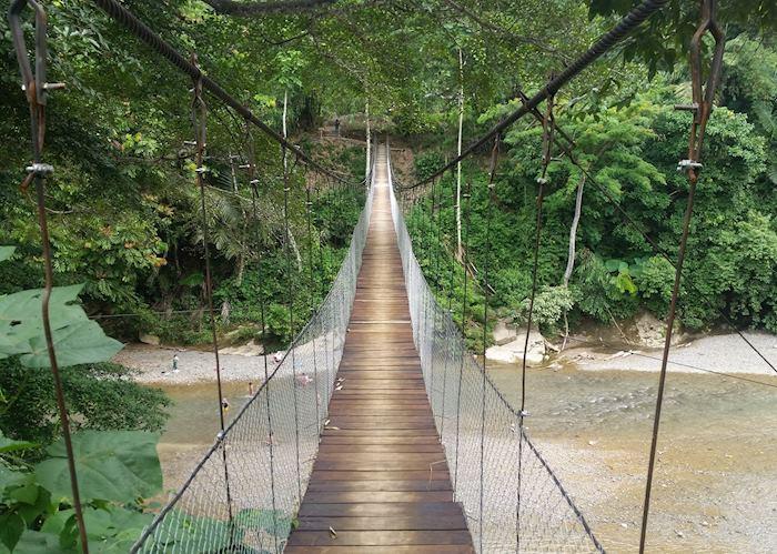 Bridge over to Jungle Lodge and Mega Inn, Tangkahan, Sumatra