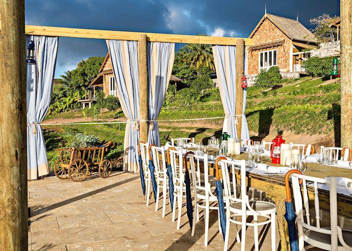 Outside dining at The Farm, Belle Mont Farm, Saint Kitts