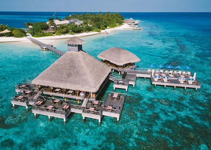 Aerial view of Salt Restaurant, Huvafen Fushi, Maldive Island