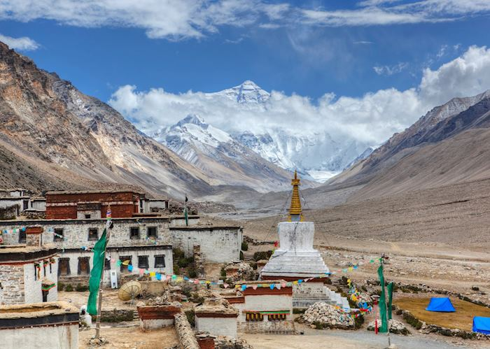 Mount Everest from the Rongbuk Monastery, Tibet