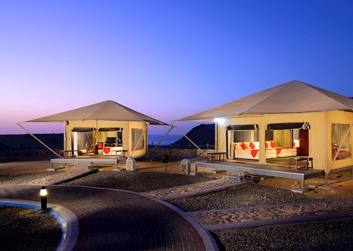 Luxury eco tent at Carapace Lodge, Ras Al Jinz