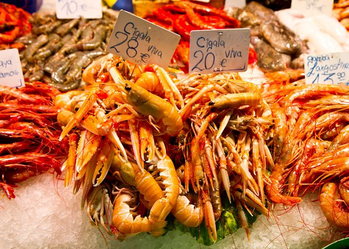 Shrimp for sale, Barcelona