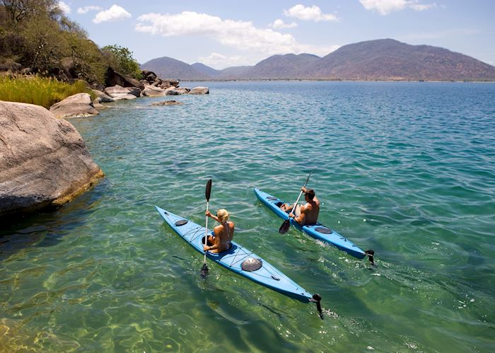 Kayaking round Mumbo Island, Lake Malawi National Park