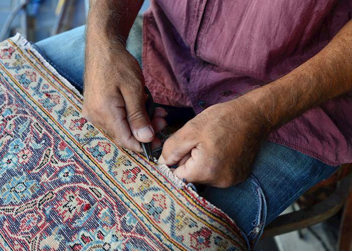 Carpet repair at a flea market, Jaffa