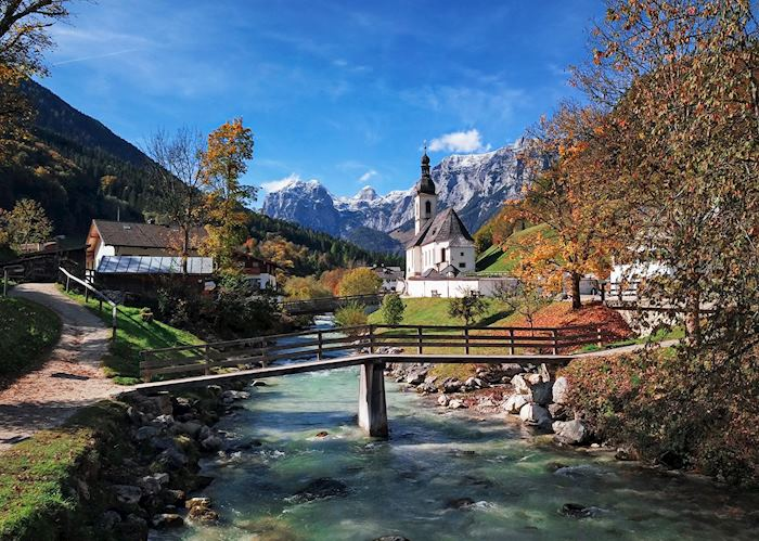 St. Sebastian church in autumn, Berchtesgaden