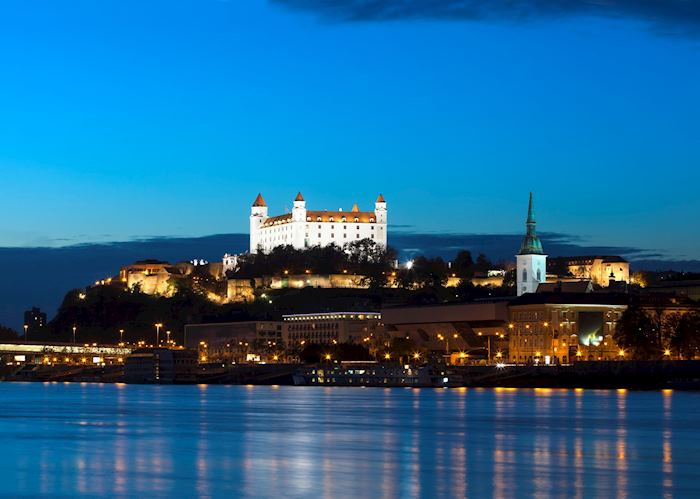 Bratislava Castle illuminated at dusk