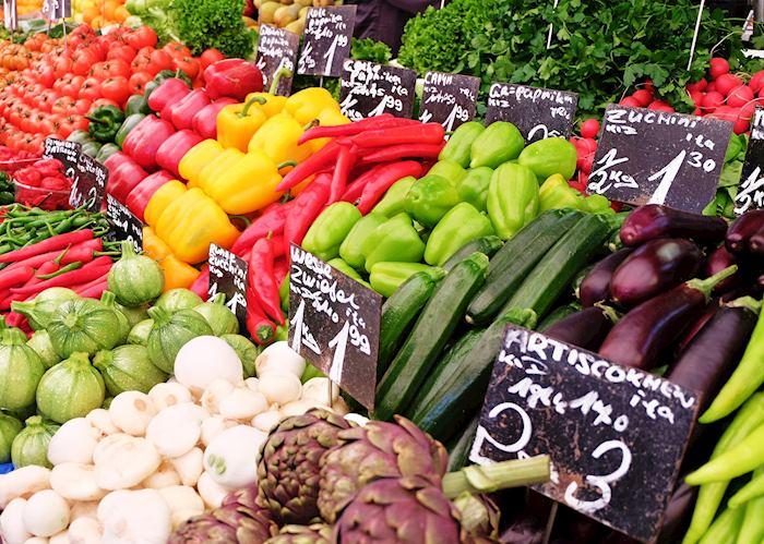 Outdoor market vegetables for sale