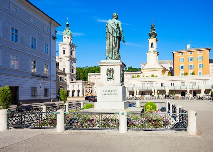 Mozart monument in Mozartplatz, Salzburg