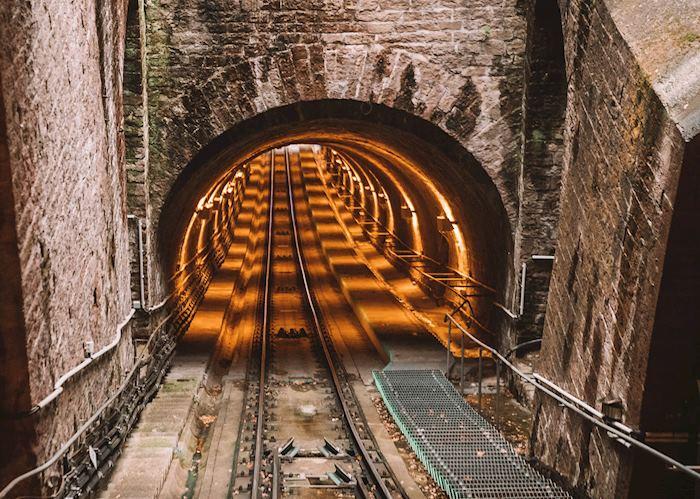 Funicular railway tunnel