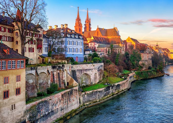 Basel old town, the Rhine and Munster cathedral