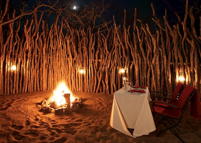 Private dinner at the honeymoon tent boma, Thanda Tented Camp, Thanda Private Reserve