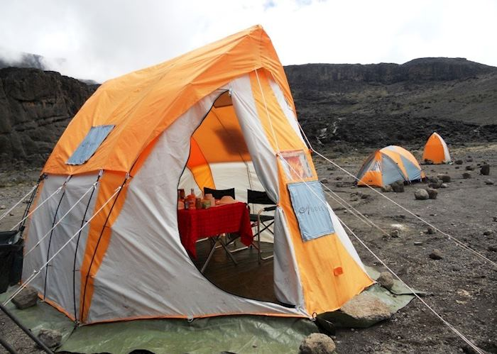 Dining tent, with standard tent and toilet tetn in background, Mount Kilimanjaro