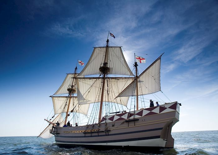 A replica of the Godspeed that sailed to Virginia in 1606 to found the settlement at Jamestown