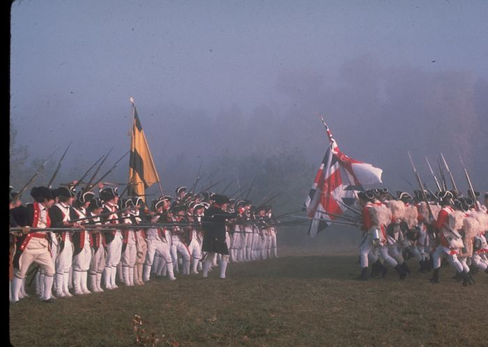 A recreation of the Battle of Yorktown which took place at Yorktown, near Williamsburg, in 1781