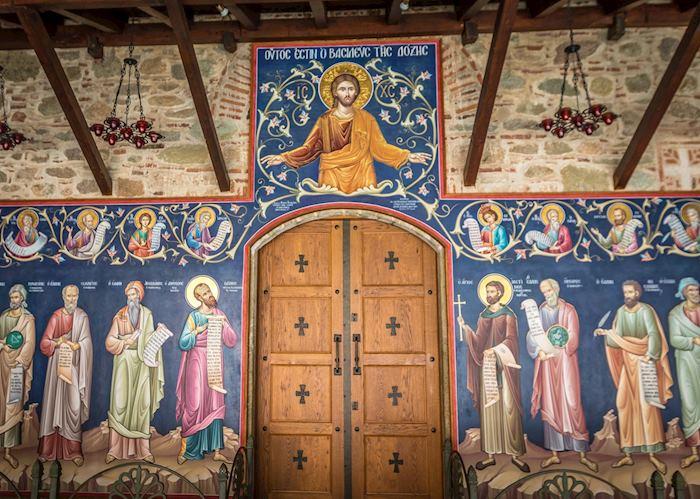 Frescos inside the monastery, Meteora