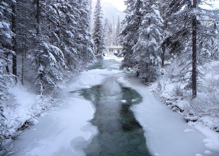 Ice walk through Johnston Canyon, Banff