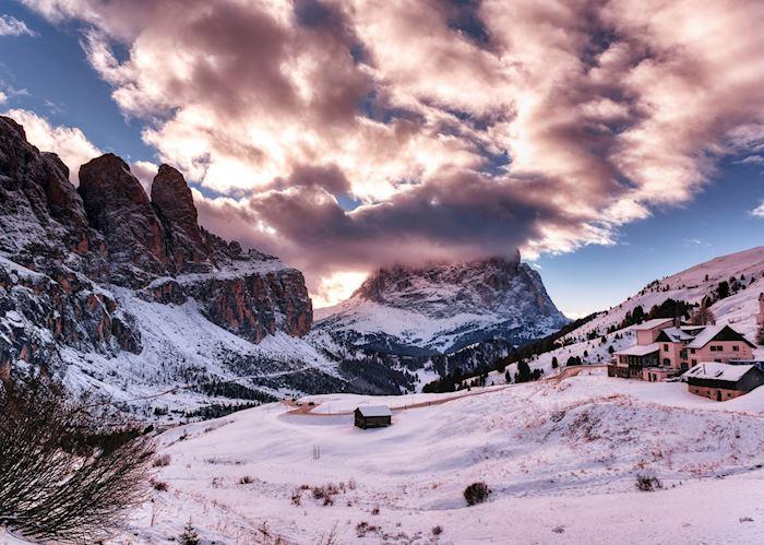 The Dolomites in snow, Alta Badia