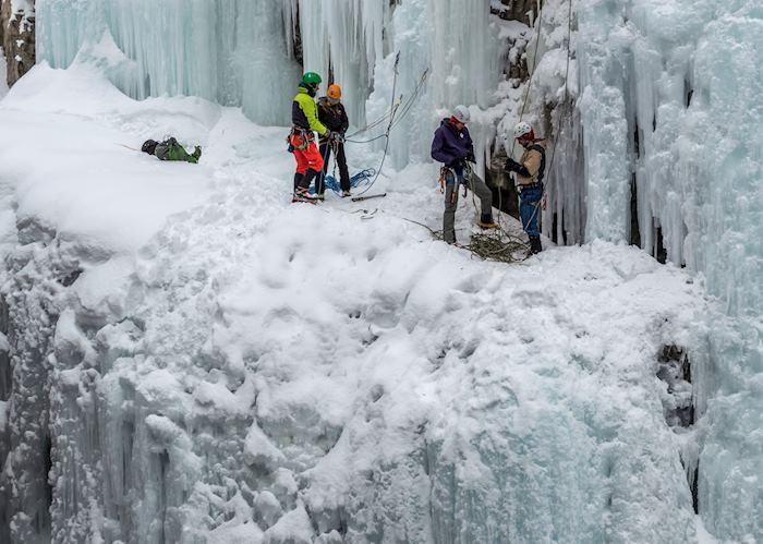 Ice climbing in Jasper National Park