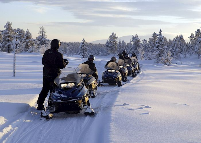 Snowmobiling group tour